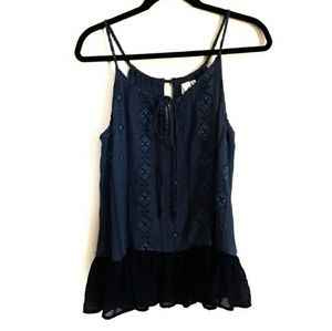 Society Mixed Material Embroidered Halter …